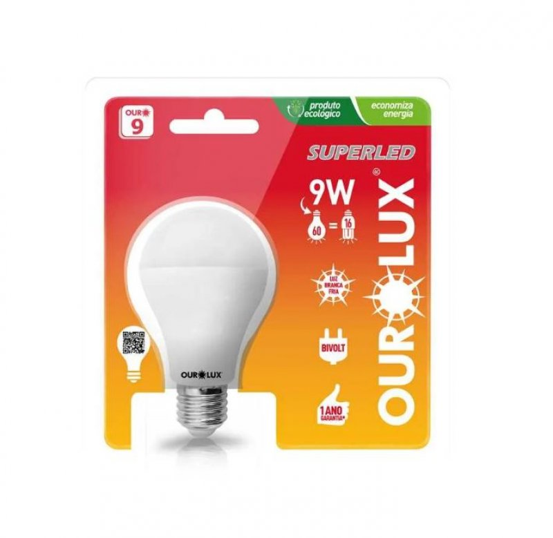 LAMPADA OUROLUX E27 9W BULBO LED