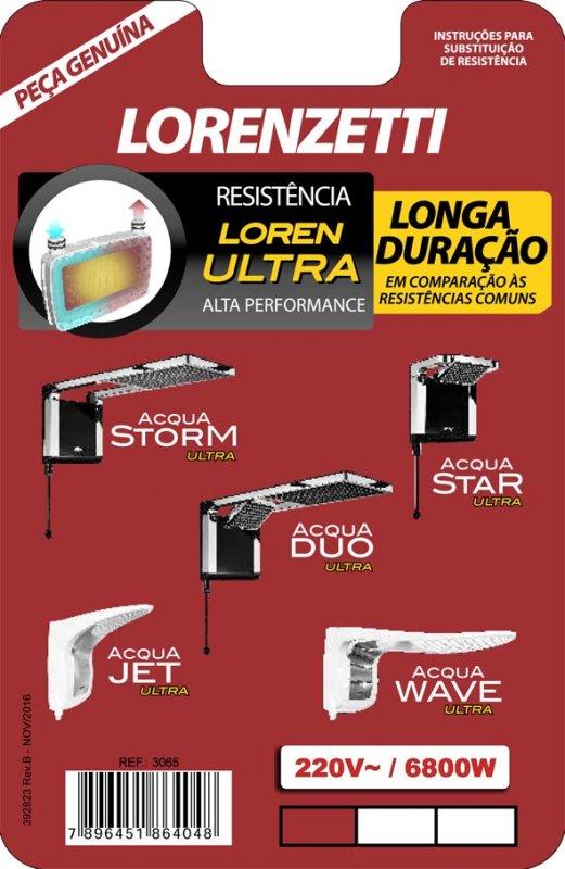 RESISTENCIA LORENZETTI 220V 6800W ACQUA 3065A