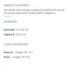 ABAJUR VESPER COBRE DIAMANTE VP1101 C/ CUPULA